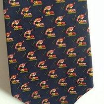 Navy Blue Bird Print Silk Ferragamo Tie Photo