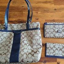 Navy Blue Coach Purse With Wallet Photo