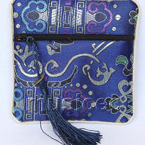 Navy Blue Jewelry Pocket Money Silk Zipper Bags Pouches T881a03 Photo
