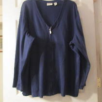 Navy Blue Knit Shirt by Classic Elements   Size 24/26w Photo