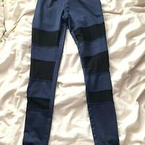 Navy Blue Mesh Panel Leggings Forever 21 Size Xs Photo