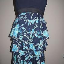 Navy Blue Over Navy & Turquoise Floral Tier Express Strapless Dress Lined Upper Photo