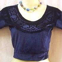 Navy Blue Velvet Blouse Top Sari 30