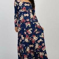 Navy Floral Off Shoulder Maternity Maxi Dress by Pink Blush Size L Photo