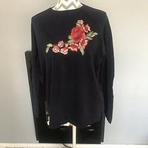 Navy Long Sleeve Round Neck Embroidered Flower Sweatshirt / Size M / Zara  Photo