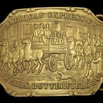 Nb24159 Vintage American Express/wells Butterfield Solid Brass Fantasy Buckle Photo