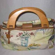 Neat Fossil Hand Bag Purse Garden Cafe Canvas Wood Handles Photo