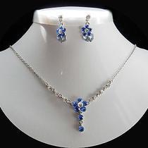 Necklace & Earrings Lt Sapphire Flower Swarovski Crystal N1030a Photo
