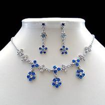 Necklace & Earrings Lt Sapphire Flower Swarovski Crystal N1176 Photo