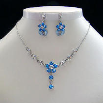 Necklace & Earrings Lt Sapphire Flower Swarovski Crystal N30 Photo
