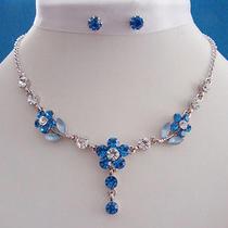 Necklace & Earrings Lt Sapphire Flower Swarovski Crystal N30 Photo
