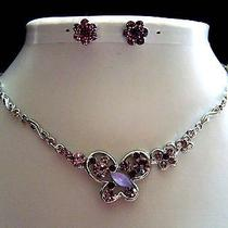 Necklace & Earrings Set Amethyst Color Swarovski Crystal N1136 Photo