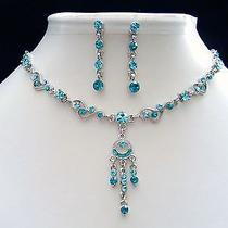 Necklace & Earrings Set Aquamarine Swarovski Fashion Jewelry N1124 Photo