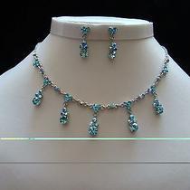 Necklace & Earrings Set Aquamarine Swarovski Wedding Jewelry N3049 Photo