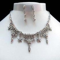 Necklace & Earrings Set Clear Swarovski Wedding Jewelry N1221 Photo