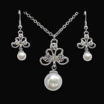 Necklace & Earrings Set Clear Swarovski Wedding Jewelry N1252 Photo