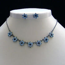 Necklace & Earrings Set Lt Sapphire Color Swarovski Crystal N1085b Photo