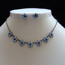 Necklace & Earrings Set Lt Sapphire Color Swarovski Crystal N185b Photo