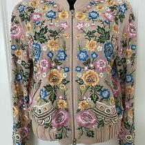 Needle & Thread Blush Pink Embroidered and Beaded Bomber Jacket Sz 2 Nwt Photo
