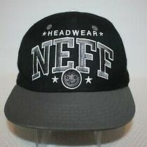 Neff Headwear Spellout Black Gray Wool Blend Snapback Cap Hat Excellent Osfm Photo