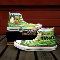 Neighbor Totoro High Top Canvas Shoes Hand Painted Shoes Water-Resistant Paints Photo