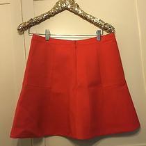 Neon Papaya J. Crew Double Crepe Fluted Skirt Size 6 Photo