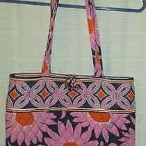Never Used Vera Bradley Small Tote Bag Navy Pink and Orange 3 Inside Pockets  Photo