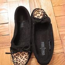 Never Worn Minnetonka Moccasins in Size 6 Black With Leopard Toe Photo