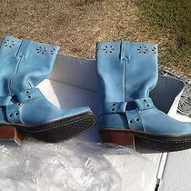 Never Worn Original Box  Rare Sky Blue Leather Frye Harness 12  std.fl  Unique Photo