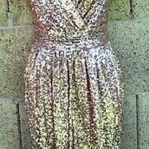 New 10 Gold Badgley Mischka Drape Beaded Sequin Formal Club Dress Glam Photo