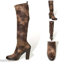 New 10 M 395 Donald J Pliner Chenia Boots Stretch Suede Leather Croco Embossed Photo