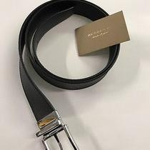 New 100% Authentic Burberry Black and Brown Leather Reversible Belt Size 42/105 Photo