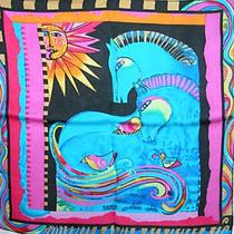 New 100% Charmeuse Silk Scarf Bandana Aqua Horses Photo