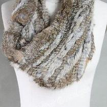 New 100% Knitted Rabbit Fur Elastic Circle Scarf Natural Brown Photo