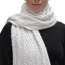 New 100% Super Fine Alpaca Wool Chunky Long Scarf Wrap Hand Knit Art 2091 Ivory Photo