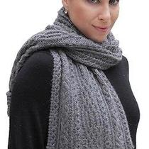 New 100% Super Fine Alpaca Wool Chunky Long Scarf Wrap Hand Knit Art 2108 Gray Photo