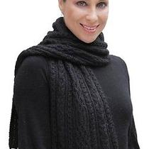 New 100% Super Fine Alpaca Wool Chunky Long Scarf Wrap Hand Knit Art 2096 Black Photo