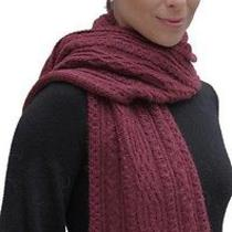 New 100% Super Fine Alpaca Wool Chunky Long Scarf Wrap Hand Knit Art 2107 Wine Photo