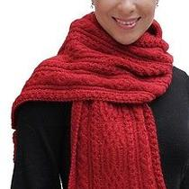 New 100% Super Fine Alpaca Wool Chunky Long Scarf Wrap Hand Knit Art 2405 Red Photo