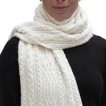 New 100% Super Fine Alpaca Wool Chunky Long Scarf Wrap Hand Knit Art 7435 Ivory Photo