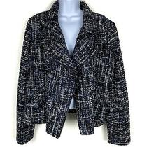 New 118 Express Metallic Boucle Tweed Moto Jacket Size Xl Black Blue Silver Photo