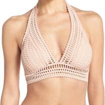 New 122 Robin Piccone Sophia Crochet Halter Bikini Top Sz Large Blush Nude Photo