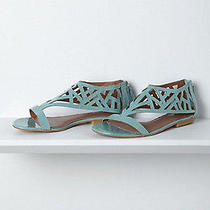 New 128 Anthropologie Matiko Masque Geo Sandals 7.5 Blue Modernist Minimalist Photo