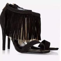 New 128 Express Women's Chain and Suede Fringe Runway Heel Sandal Sz 7 Photo
