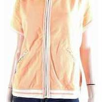 New128 Tommy Bahama L Orange Hoodie Short Sleeve Zip Pima Sweatshirt Jacket Photo