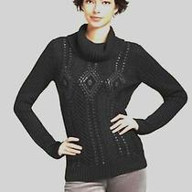 New 129 Talbots Black Cowl Neck Cable Knit Sweatersequin Trim Sz Ps 6p8p Photo