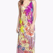 New 130 Natori Chinois Long Satin Gown Sz S Nightgown Jeweltones Floral Photo