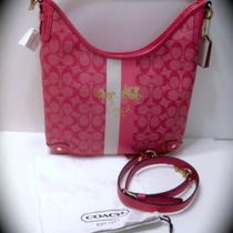New 13193 Coach Heritage Stripe Convertible Hobo  Photo