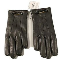 New 135 Coach F32708 Black Sheep Leather Gloves Tea Rose Bow Merino Lined 6.5 Photo