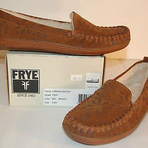 New 138 Frye Morgan Slip on 6.5 M Brown Tan Leather Suede Slipper Fur Photo